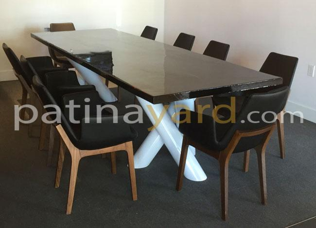High gloss charred wood modern table with round po