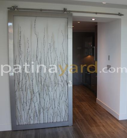 modern style barn door with stainless steel hardwa