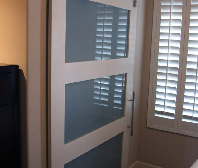 frosted glass panels in a shaker style wood frame