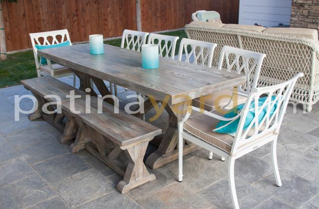 Trestle Table and Benches with driftwood finish