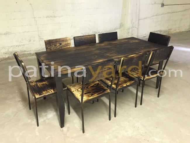 industrial wood and metal table