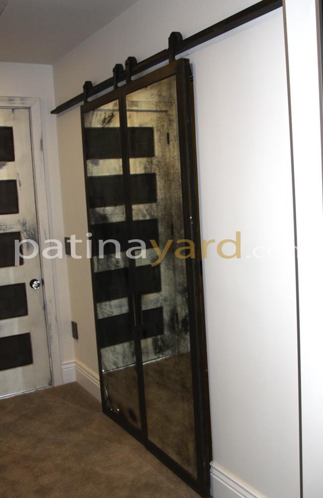 Antiqued Mirror Barn Doors