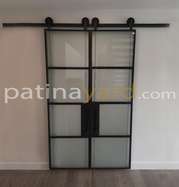 Iron And Glass And Warehouse Sliding Barn Doors Custom