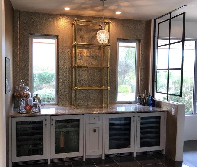 bistro brass and glass shelves for liquor