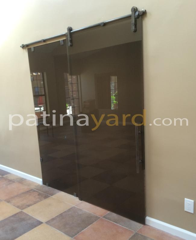 Bronze glass barn doors