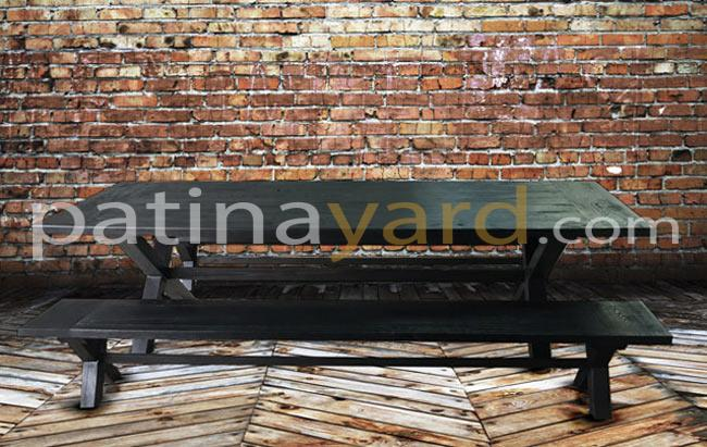 Shou Sugi Ban Charred Wood Dinning Table and Bench