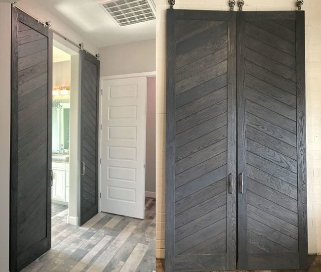 contemporary chevron pattern ash wood double doors stained gray