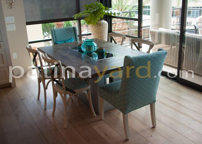 contemporary hardwood table with zinc base