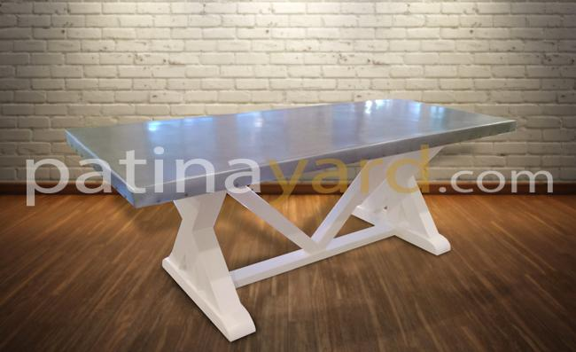 custom french style table with zinc top