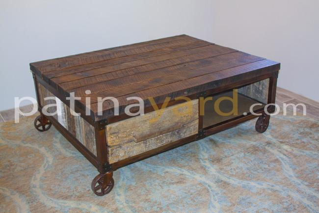 Industrial metal and wood coffee table with caster