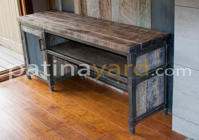 reclaimed barn wood credenza and patina metal