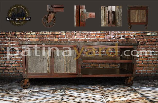 reclaimed wood and steel vintage industrial creden
