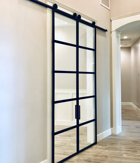 large double black metal and glass doors
