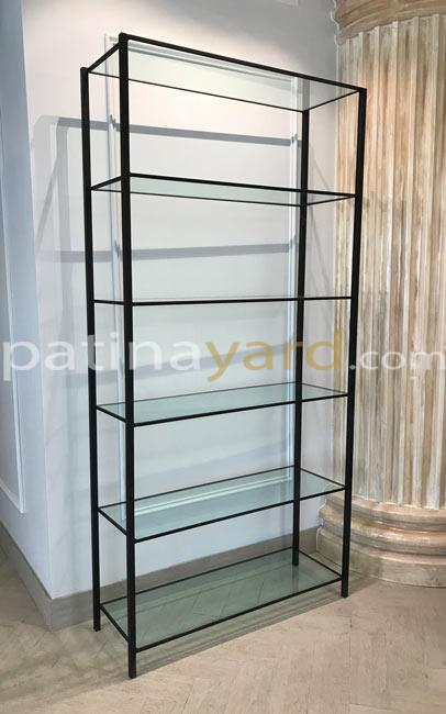 iron and glass shelves