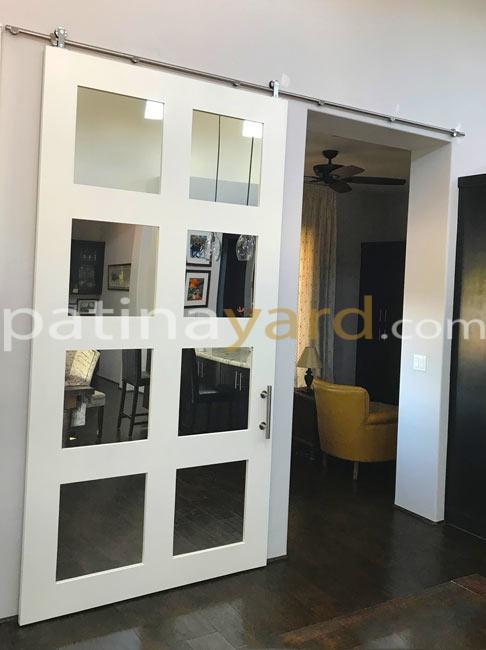 shaker style door with mirror panes