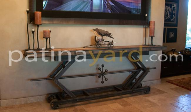 Industrial Metal and Reclaimed Wood Sofa table