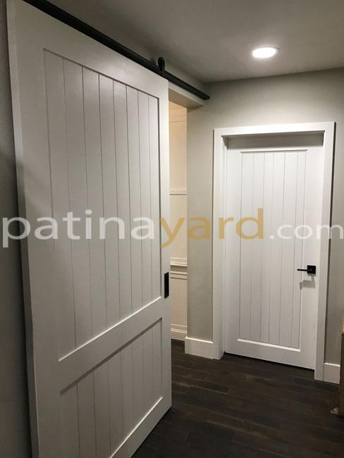 White shaker barn door