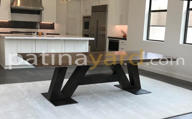 live edge slab walnut table with custom metal base