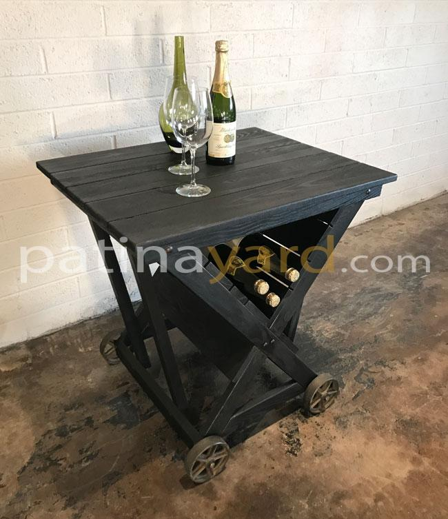 portable wine cart with cast iron casters and char