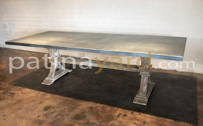 zinc table top with wood base custom made