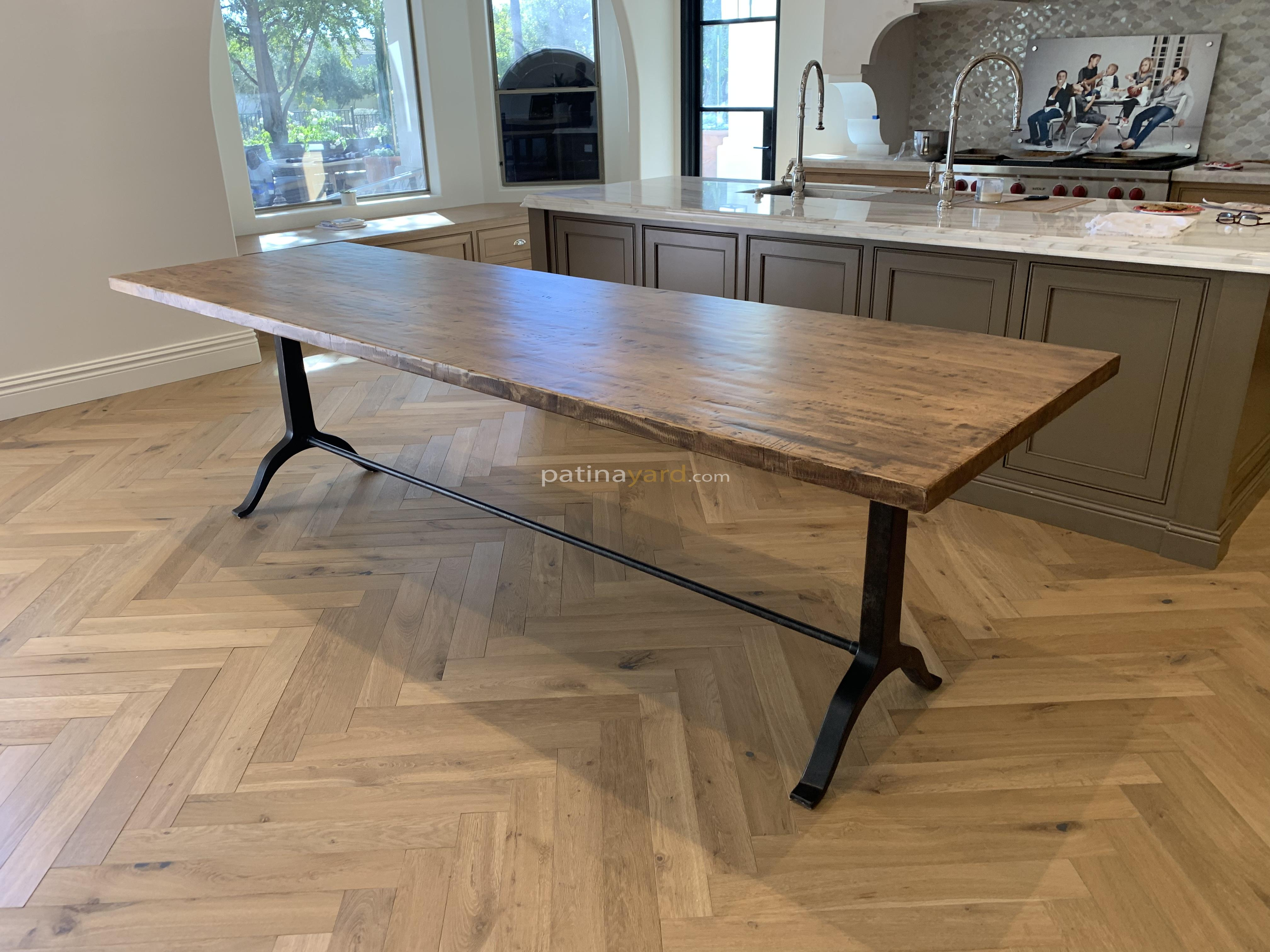 Maple table top and cast iron metal legs