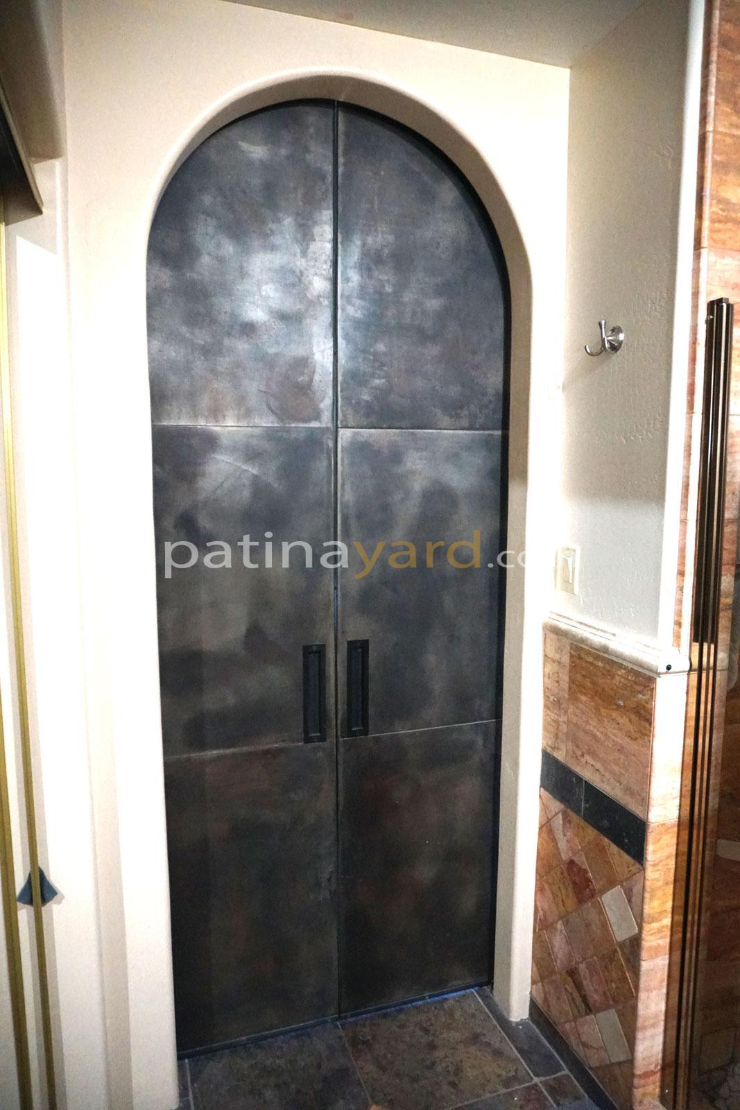 weathered steel doors