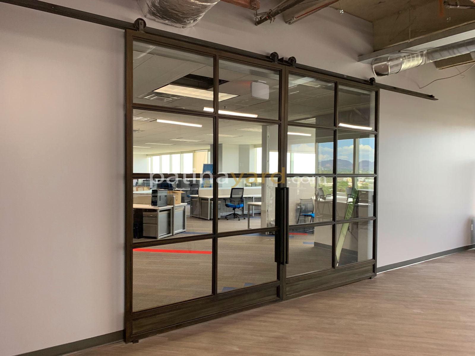 Commercial large double metal and glass barn doors