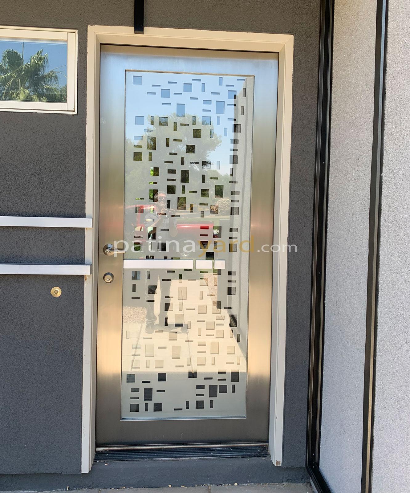 custom stainless steel front door with glass