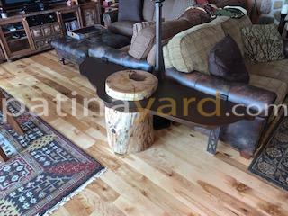 log side table with patina metal
