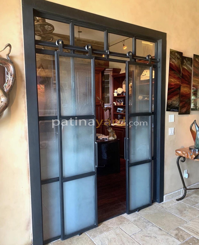 office doors metal and sandblasted glass sliding double doors