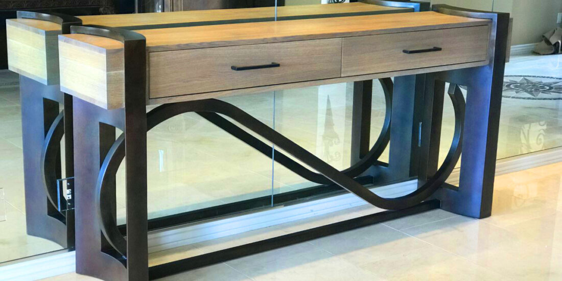 artistic wood and metal credenza
