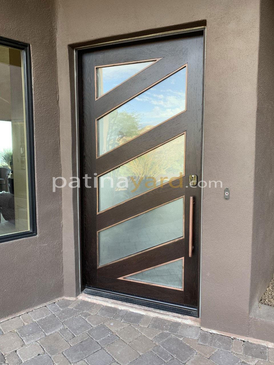 wenge wood front door with satin glass lites