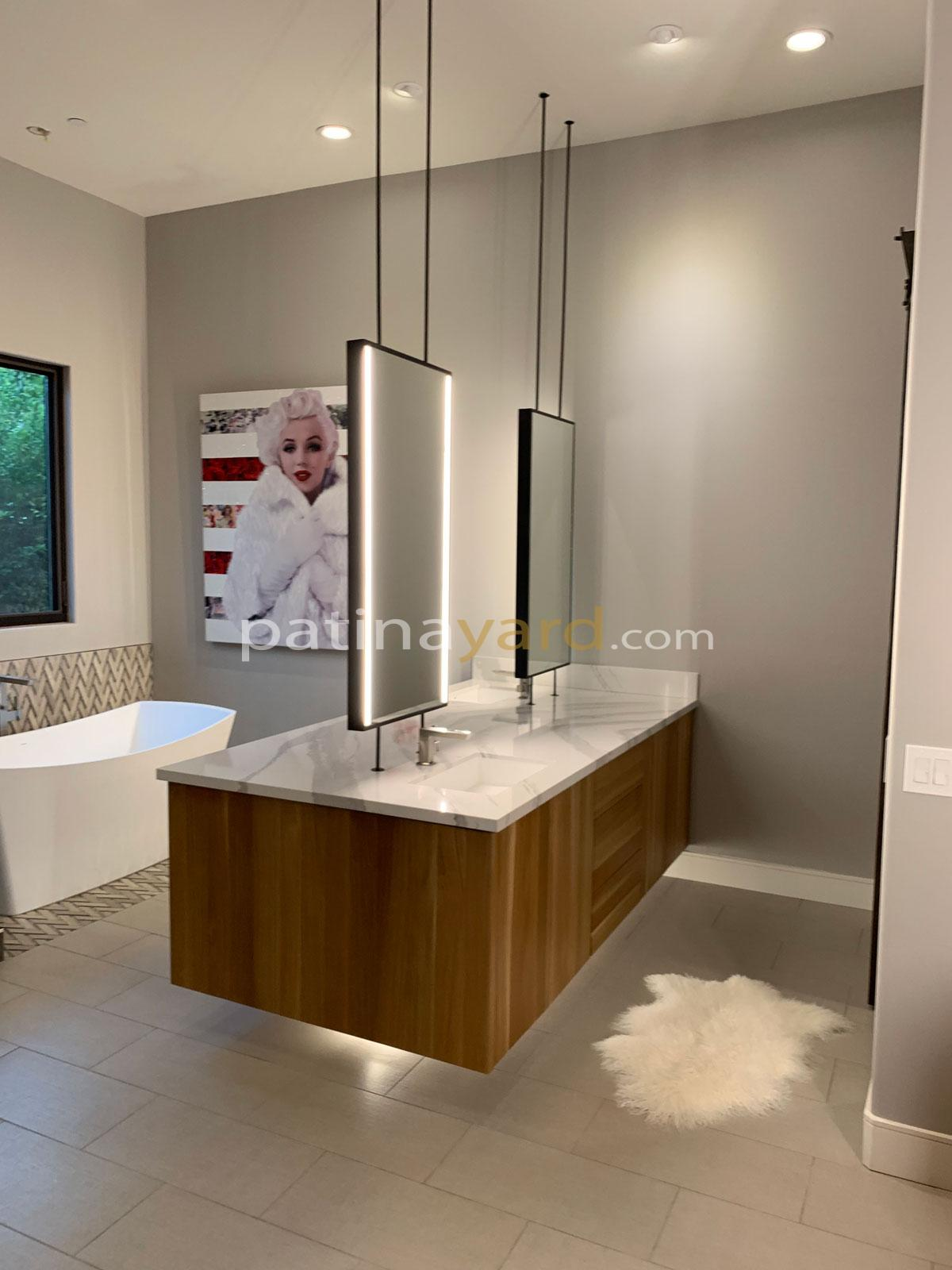 custom vanity and white oak contemporary cabinet