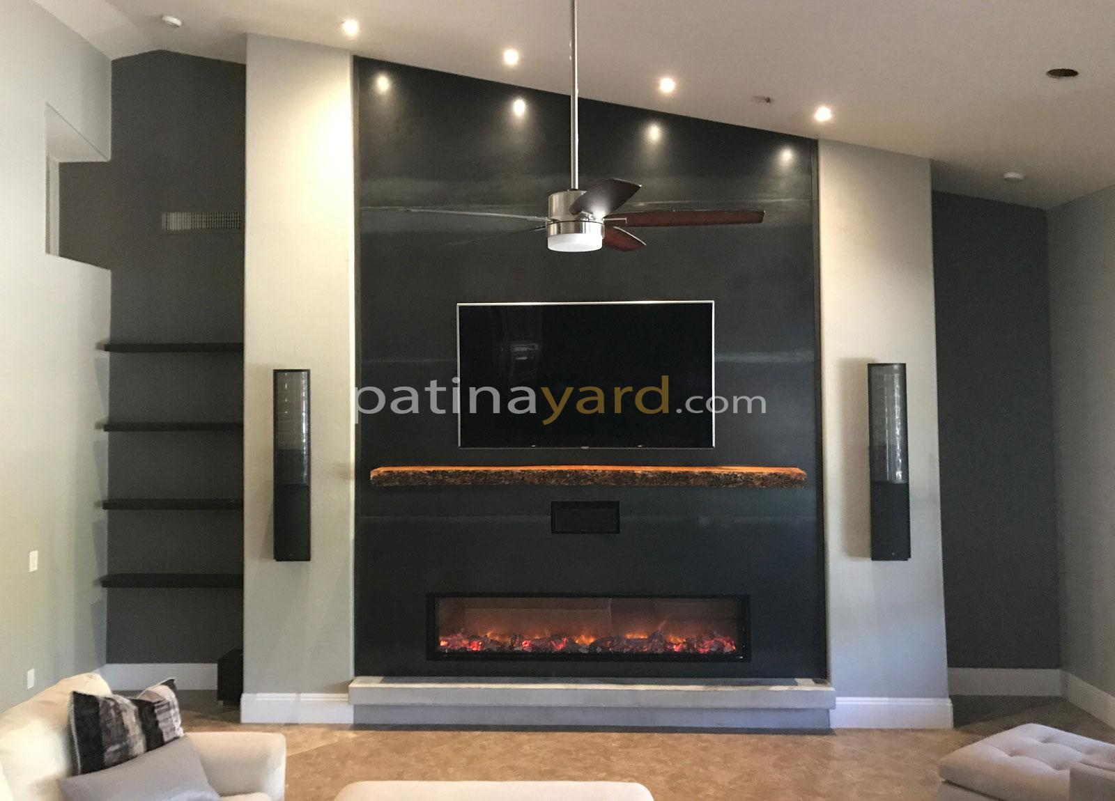 hot rolled steel fireplace with live edge