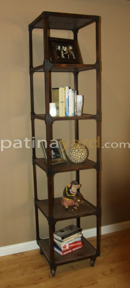small industrial book shelf
