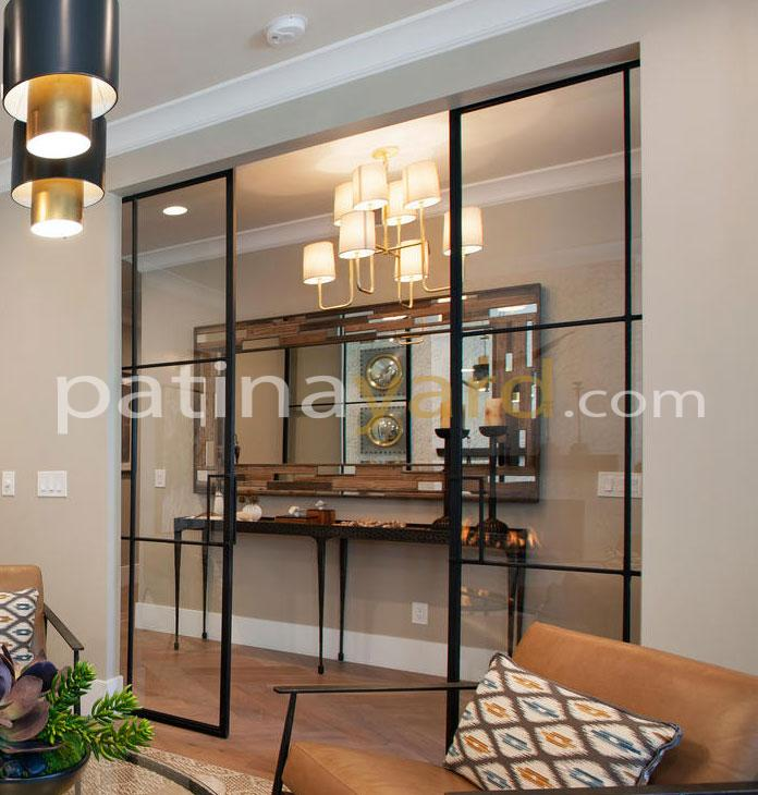 Contemporary metal and clear glass sliding doors