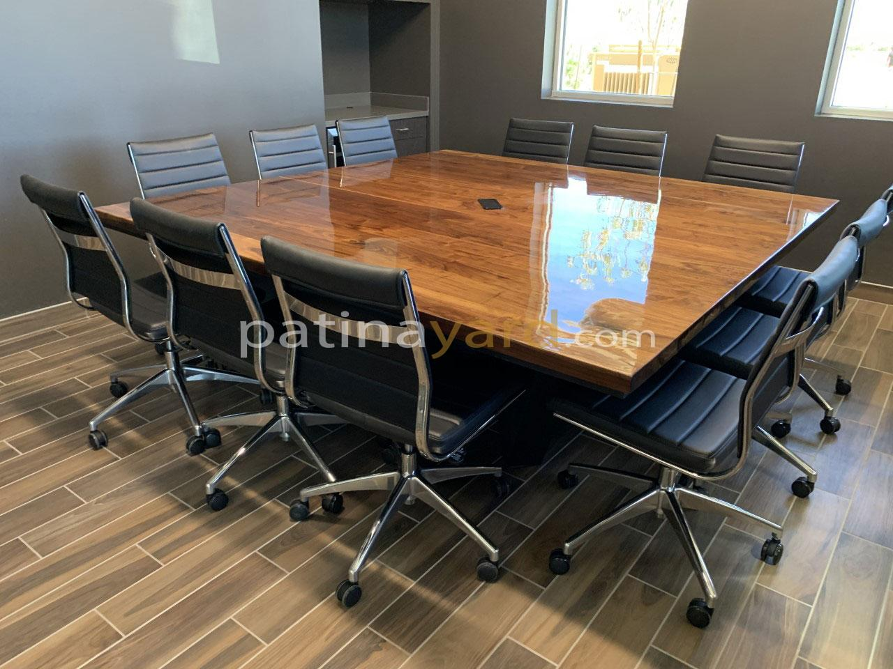 large walnut conference table