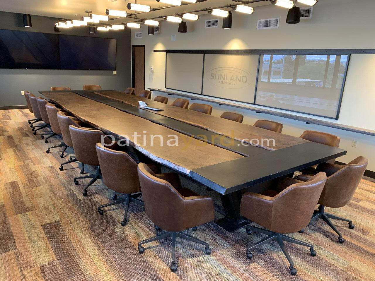 executive conference walnut and industrial metal base