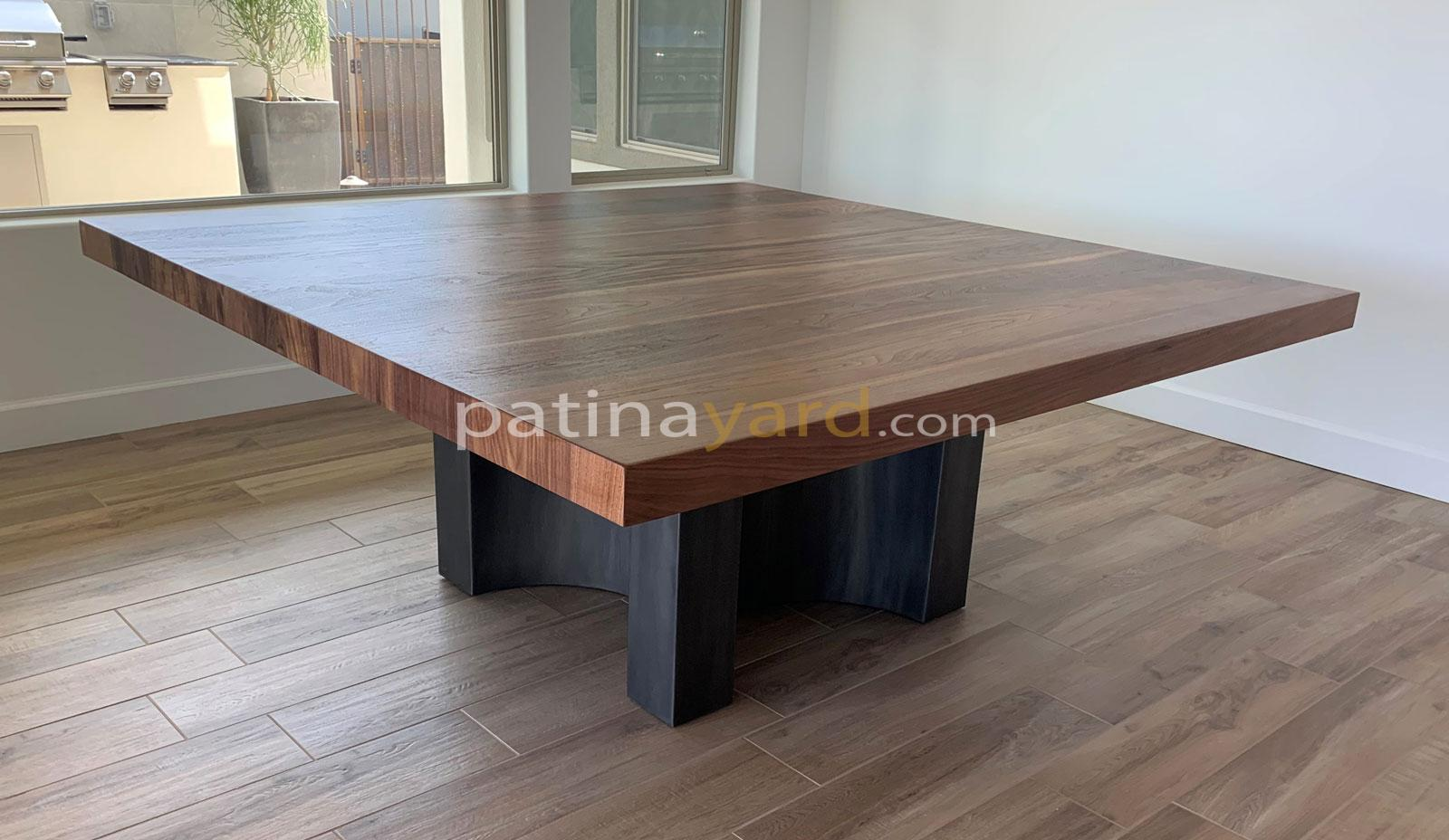 walnut and curved steel base