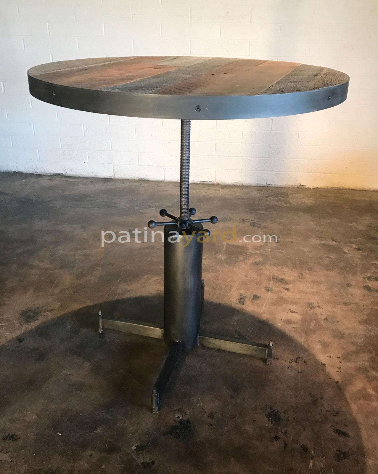 round reclaimed wood and metal bar table