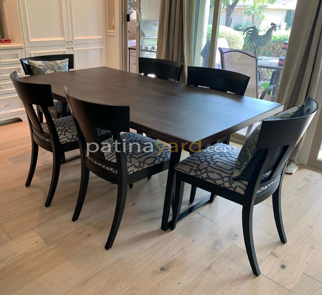 solid mahogany wood table top with tapered metal legs
